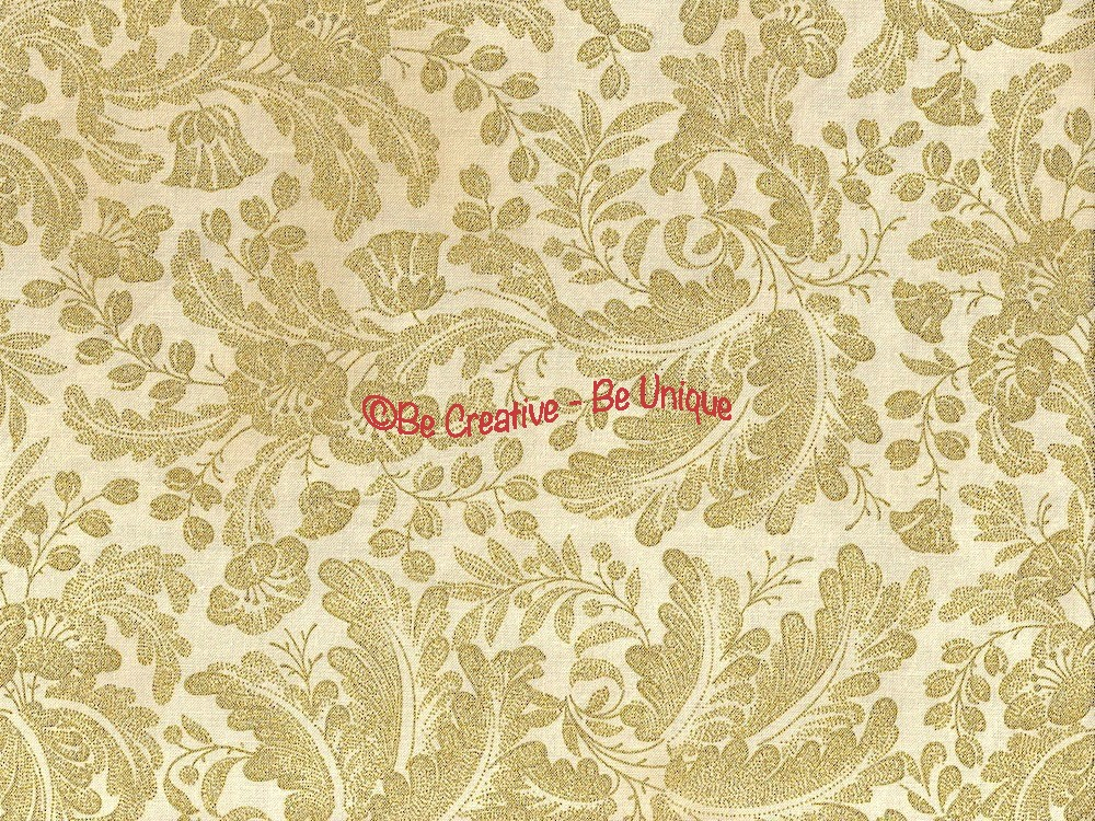 Fat Quarter - Cotton by Hoffman Fabrics - Gold Metallic Flowers