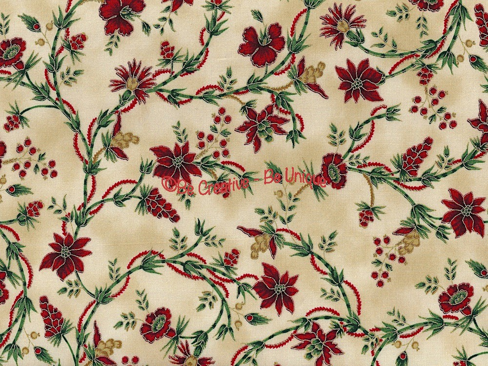 Fat Quarter - Cotton by Hoffman Fabrics - Winter Berries and Flowers