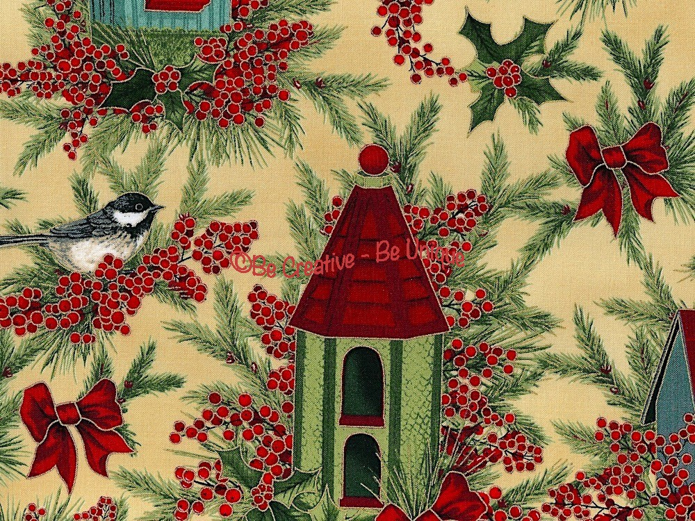 Cotton by Hoffman Fabrics - Birds and Winter Berries