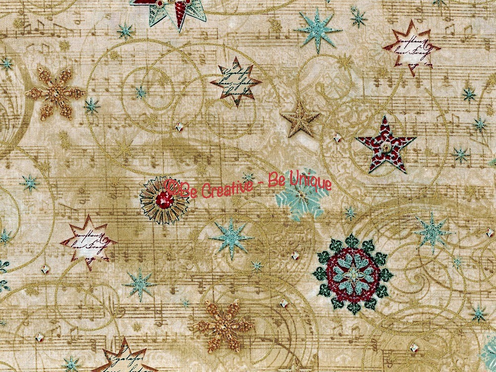 Fat Quarter - Cotton by Hoffman Fabrics - Music and Snowflakes