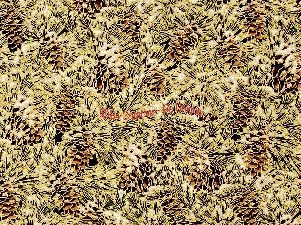 Cotton by Hoffman - Gold Metallic Pinecones
