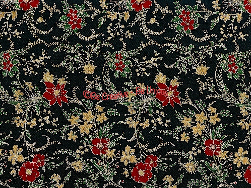 Cotton by Hoffman - Metallic Christmas Floral