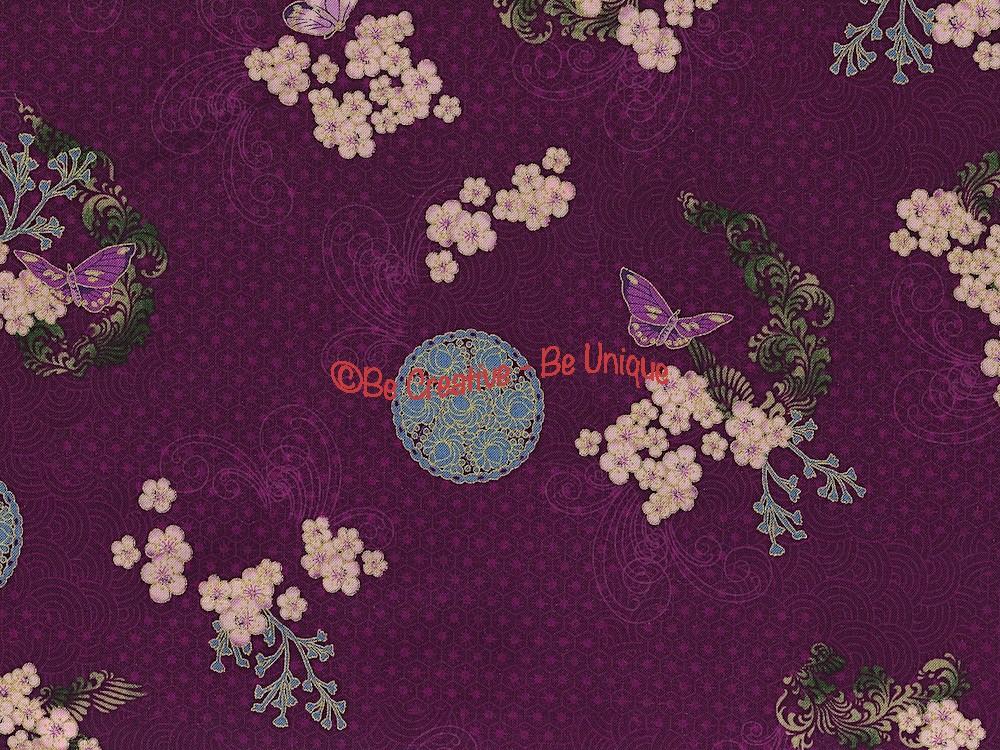 Fat Quarter - Cotton by Hoffman - Oriental Flowers and Butterflies