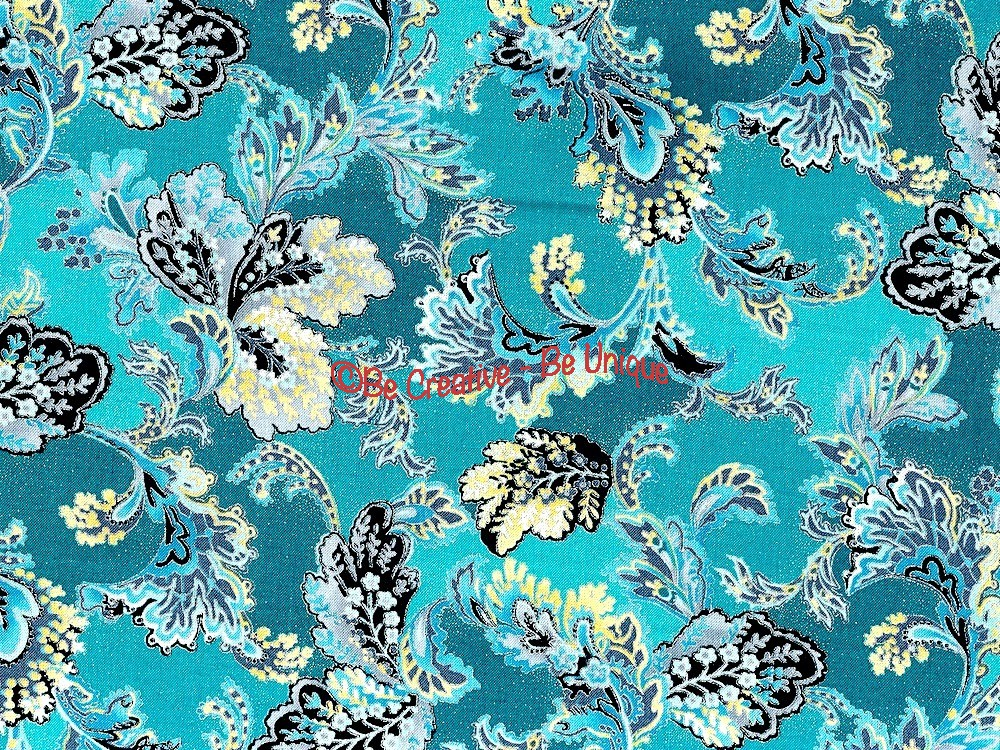 Cotton by Hoffman - Silver Metallic Leafy Print