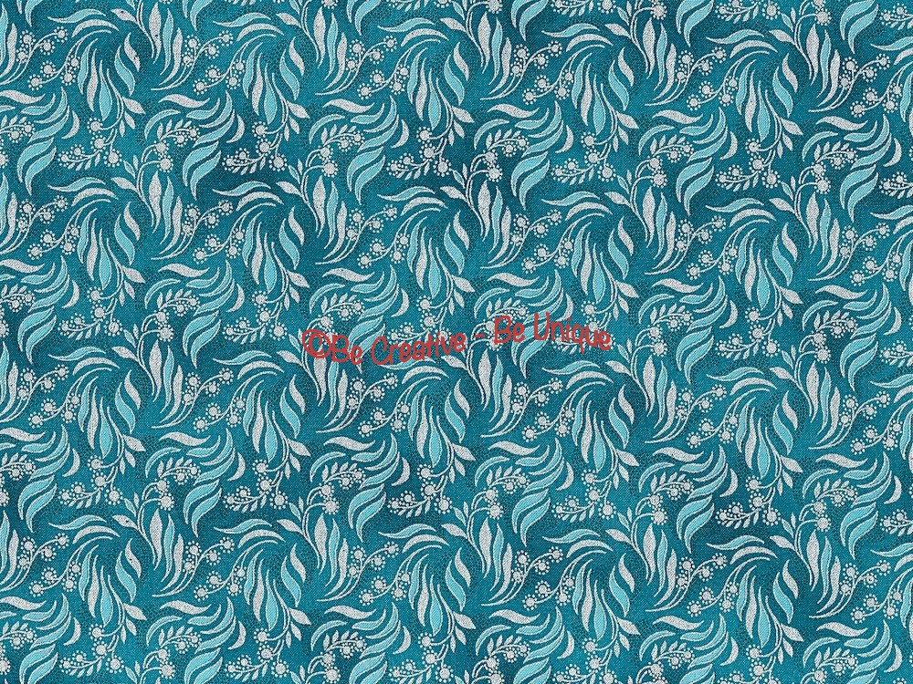 Fat Quarter - Cotton by Hoffman - Silver Metallic Floral Print