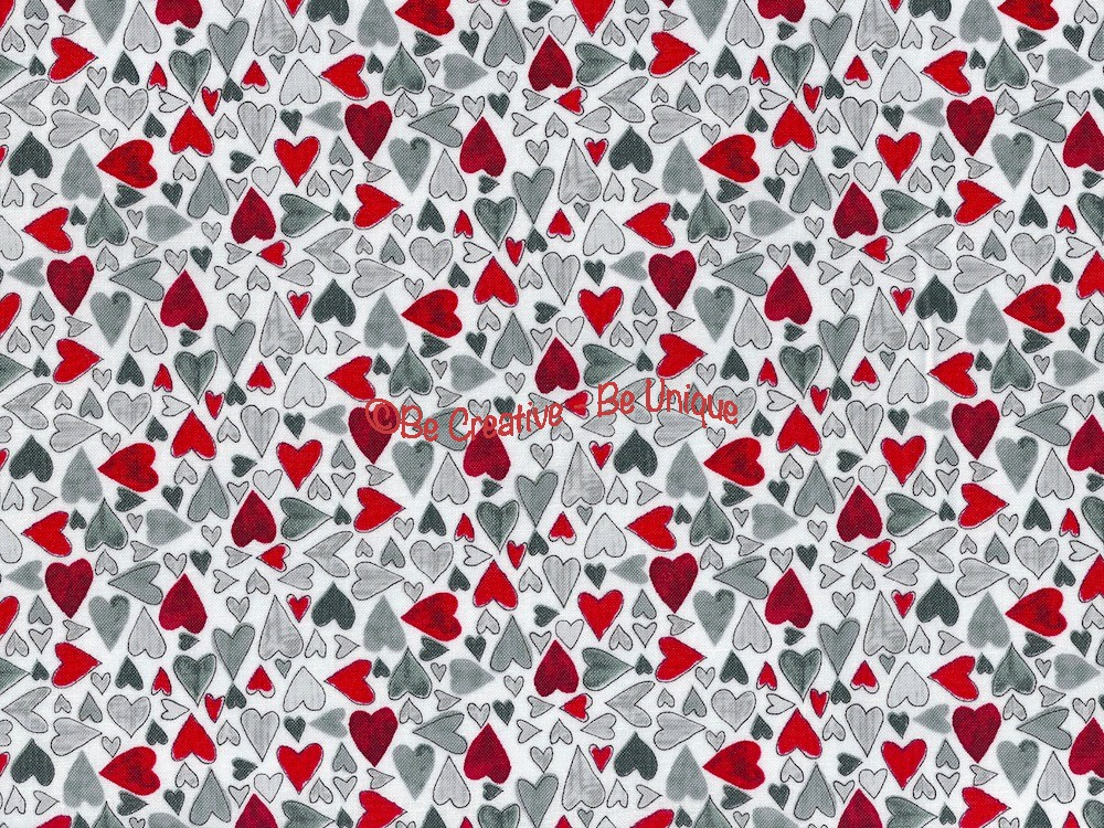 Cotton by Stof - Red and Grey Lovehearts