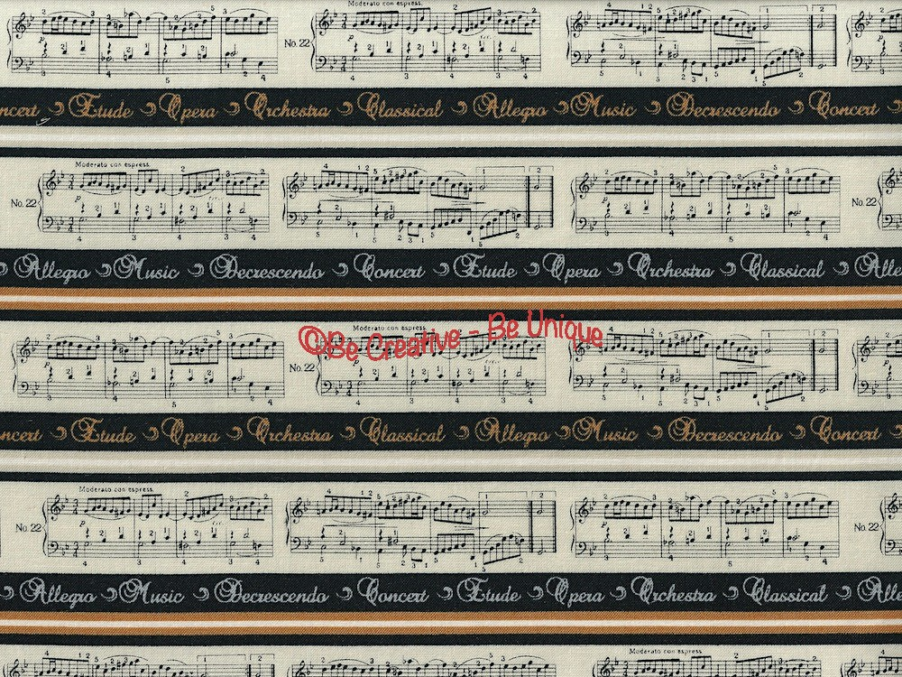 Fat Quarter - Cotton by Stof - Musical Notation - Ivory