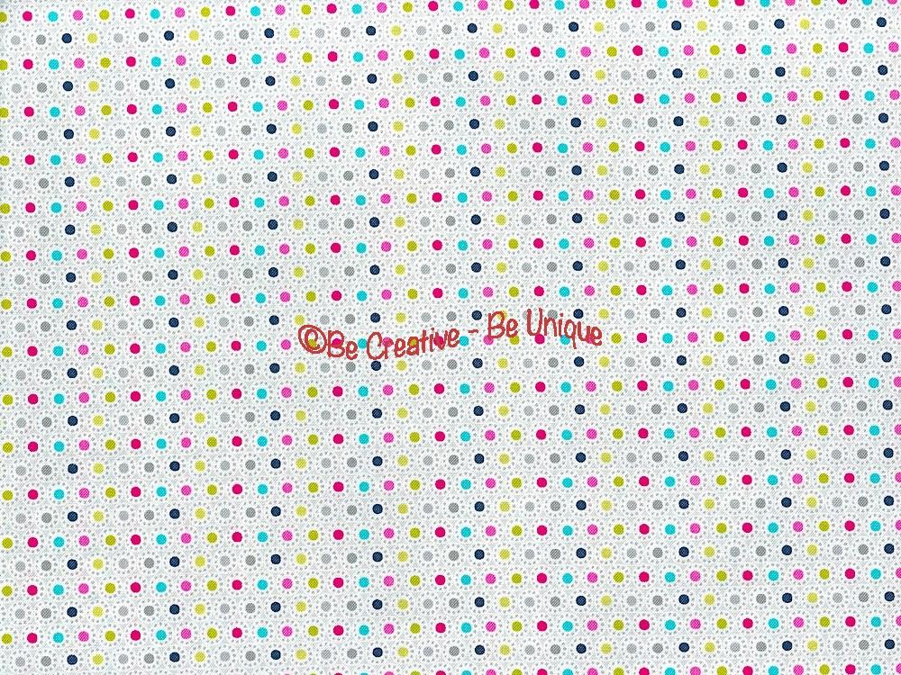 Fat Quarter - Cotton by Stof - Multi Coloured Spots