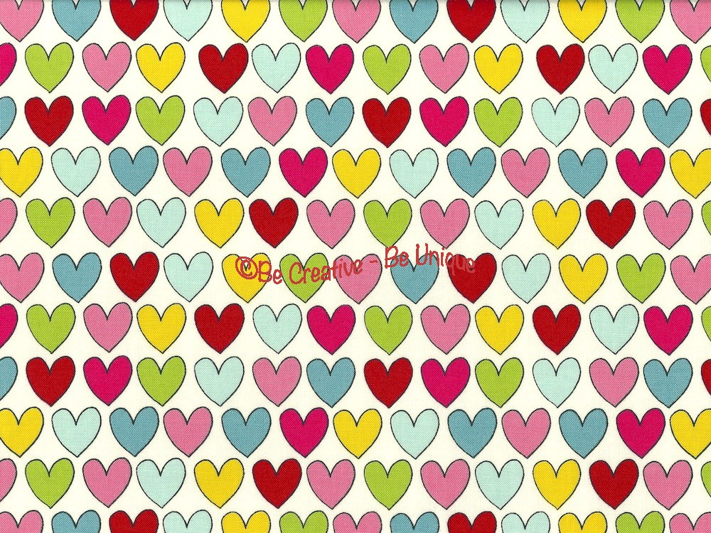 Cotton by Stof - Multi Coloured Lovehearts