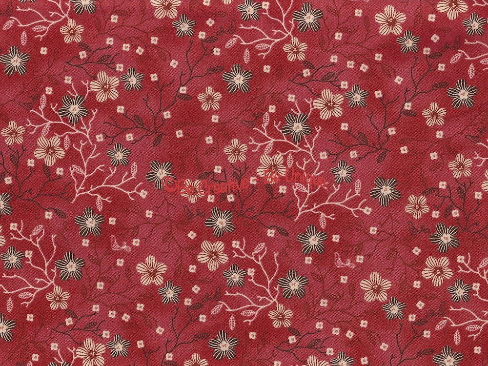 Fat Quarter - Cotton by Stof - Oriental Flowers - Red