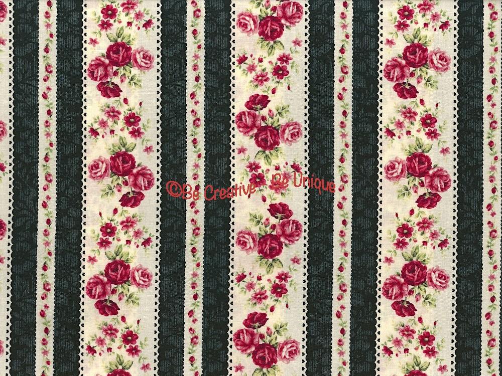Fat Quarter - Cotton by Quilt Gate - Roses Border Stripe