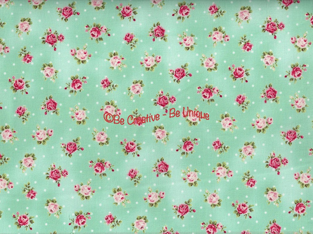 Fat Quarter - Cotton by Quilt Gate - Small Roses on Aqua
