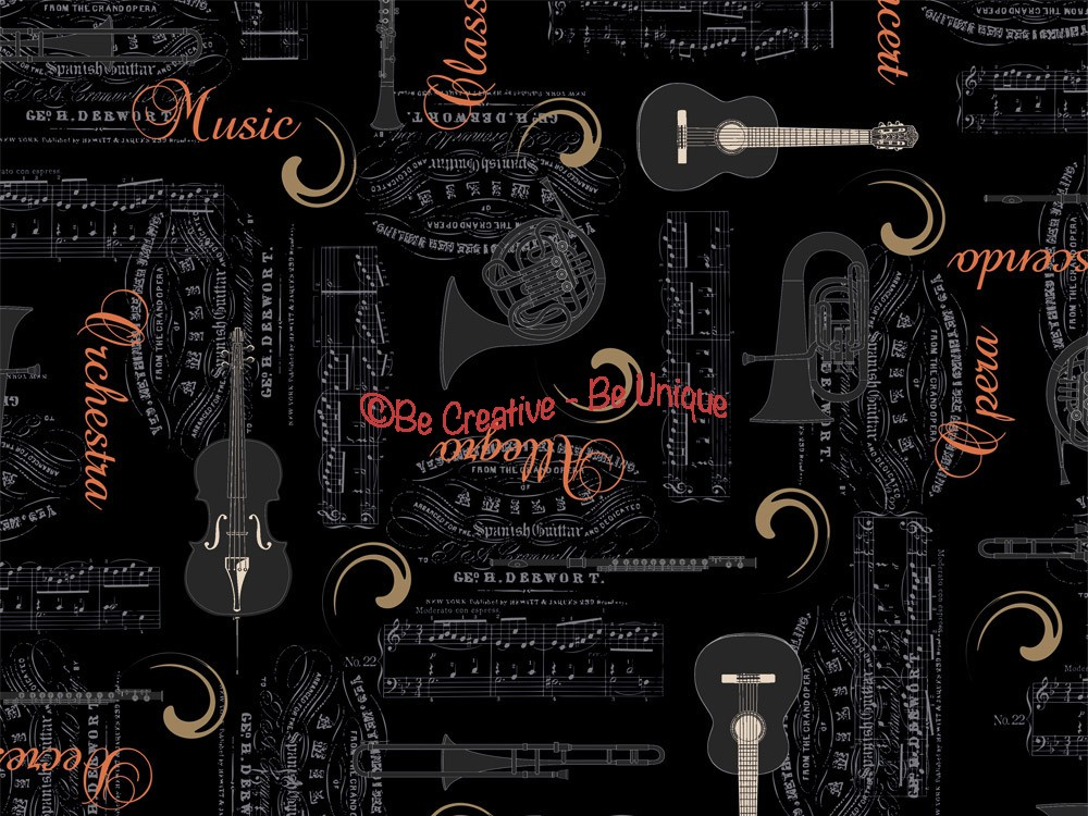 Cotton by Stof - Copper Metallic Scripts and Instruments