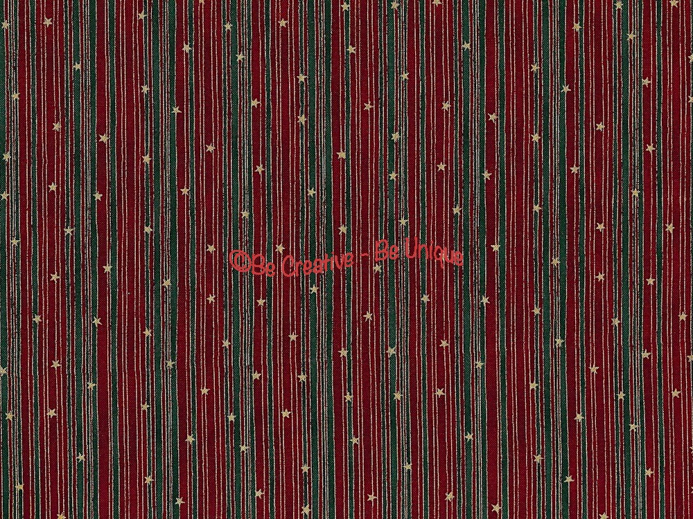 Cotton by Stof - Red and Green Stripes & Stars