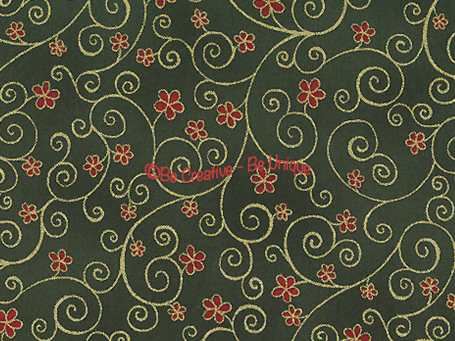 Fat Quarter - Cotton by Stof - Raphael - Flowers and Twirls - Green