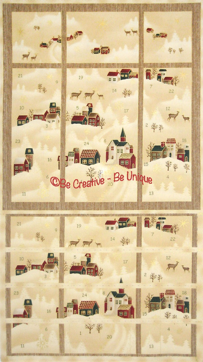 Cotton by Stof - Winter Villages Advent Calendar Panel