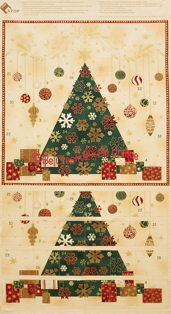 Cotton by Stof - Christmas Tree Advent Calendar Panel