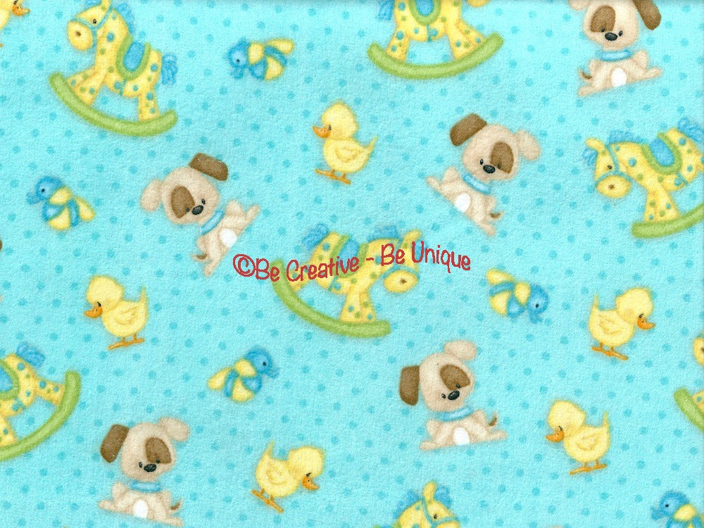 Fat Quarter - Cotton by Henry Glass - Puppies and Rocking Horse