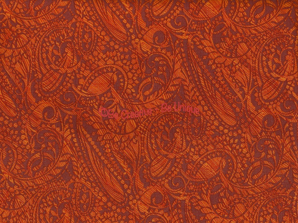Fat Quarter - Cotton by Hoffman - Tangerine Paisley