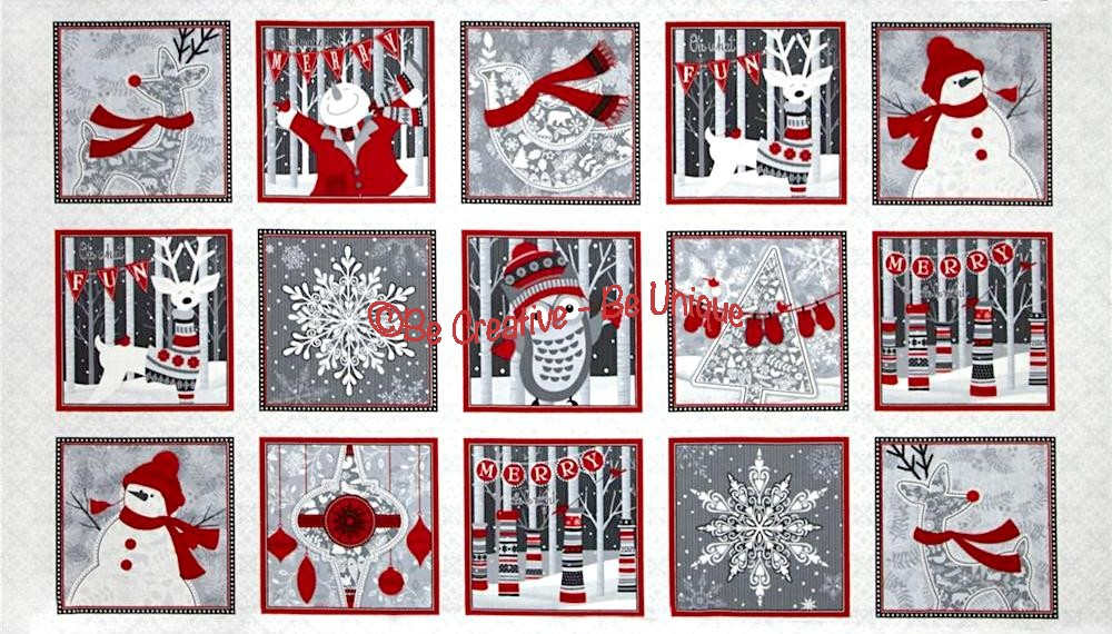 Cotton by Henry Glass - Holiday Magic Squares Panel