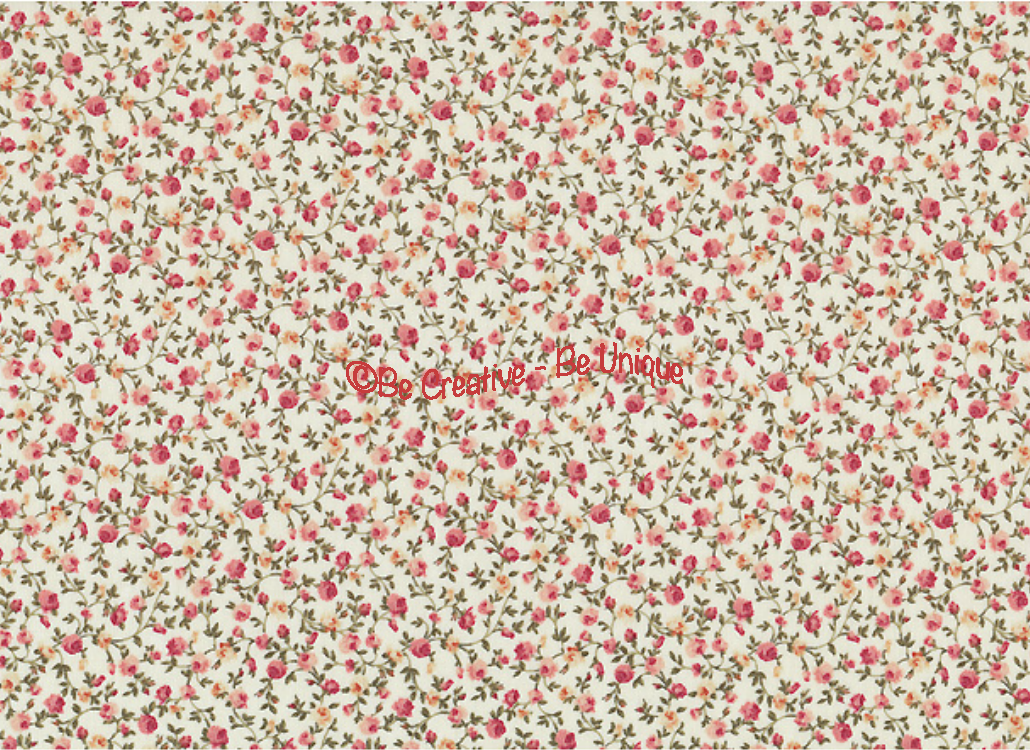 Fat Quarter - Cotton by Stof - Small Roses - Ivory