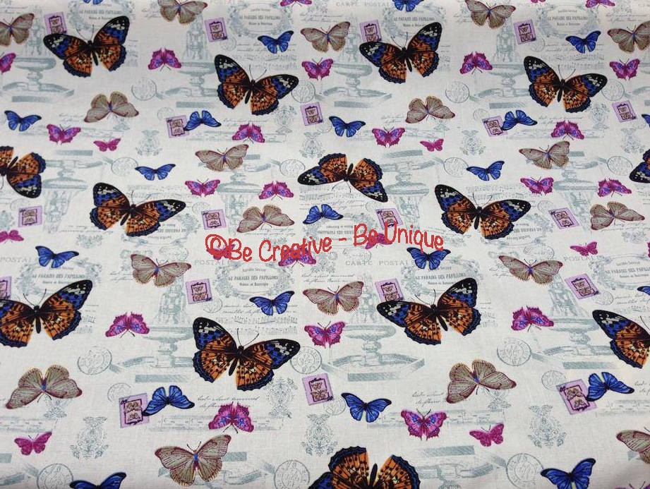 Fat Quarter - Cotton Canvas - Vintage Butterflies - Cream