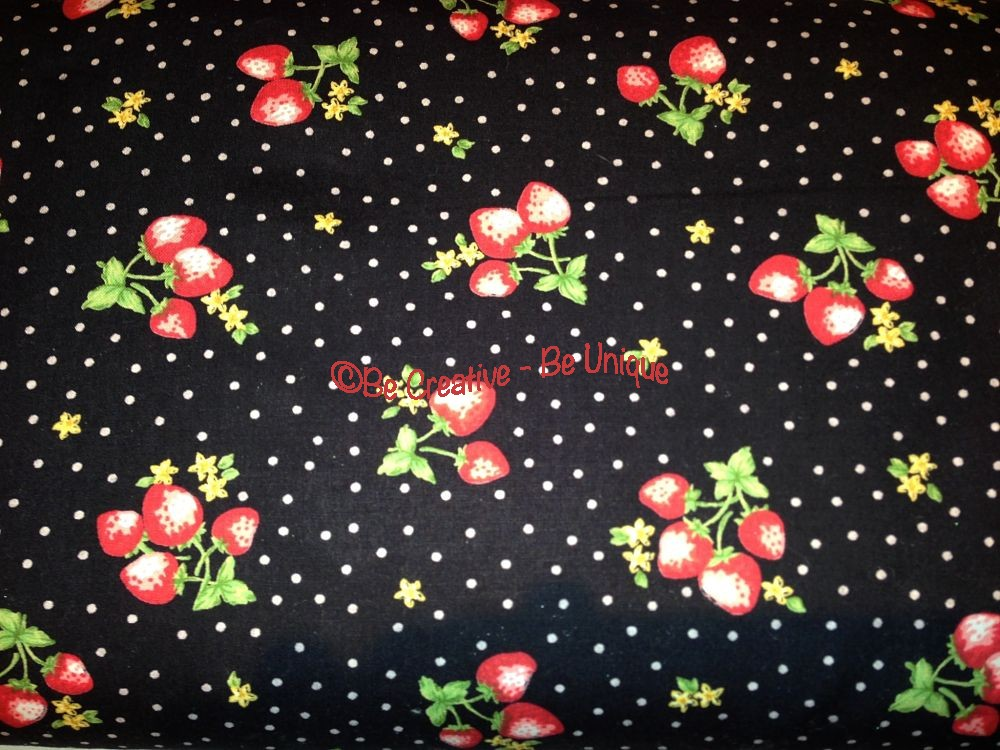 Cotton Poplin - Strawberry - Black