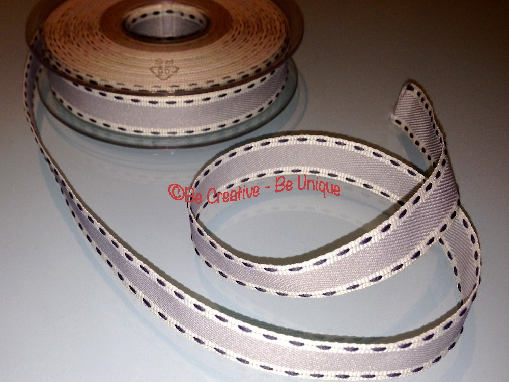 Vintage Stitch Ribbon - Grey/Black