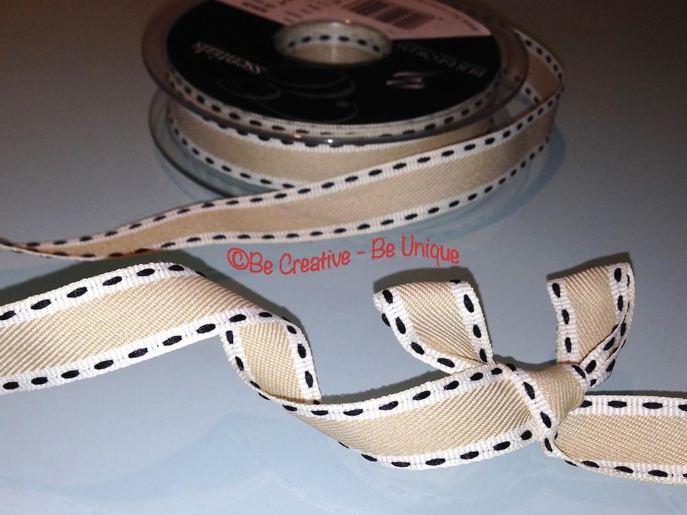 Saddle Stitch Grosgrain Ribbon - Navy/White