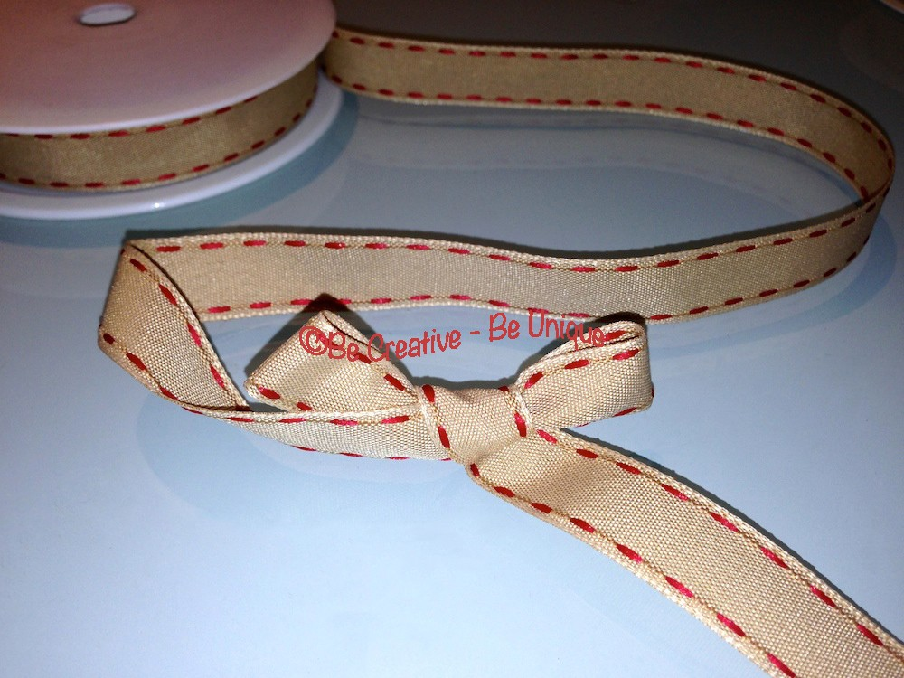 Natural Side Stitch Ribbon - Red
