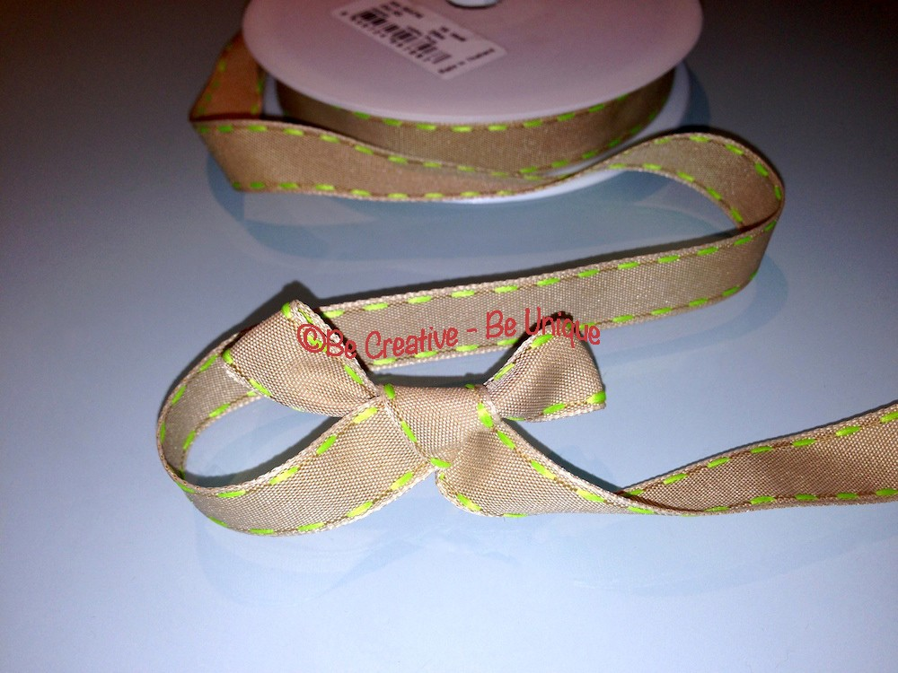 Natural Side Stitch Ribbon - Lime