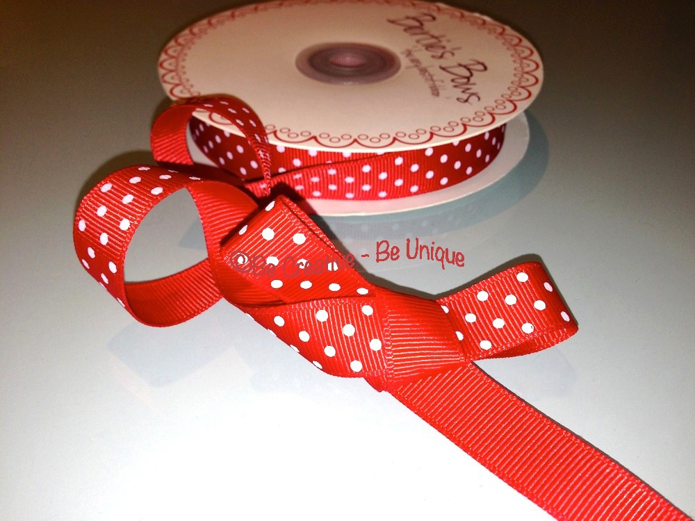 Polka Dot Grosgrain Ribbon - Red/White