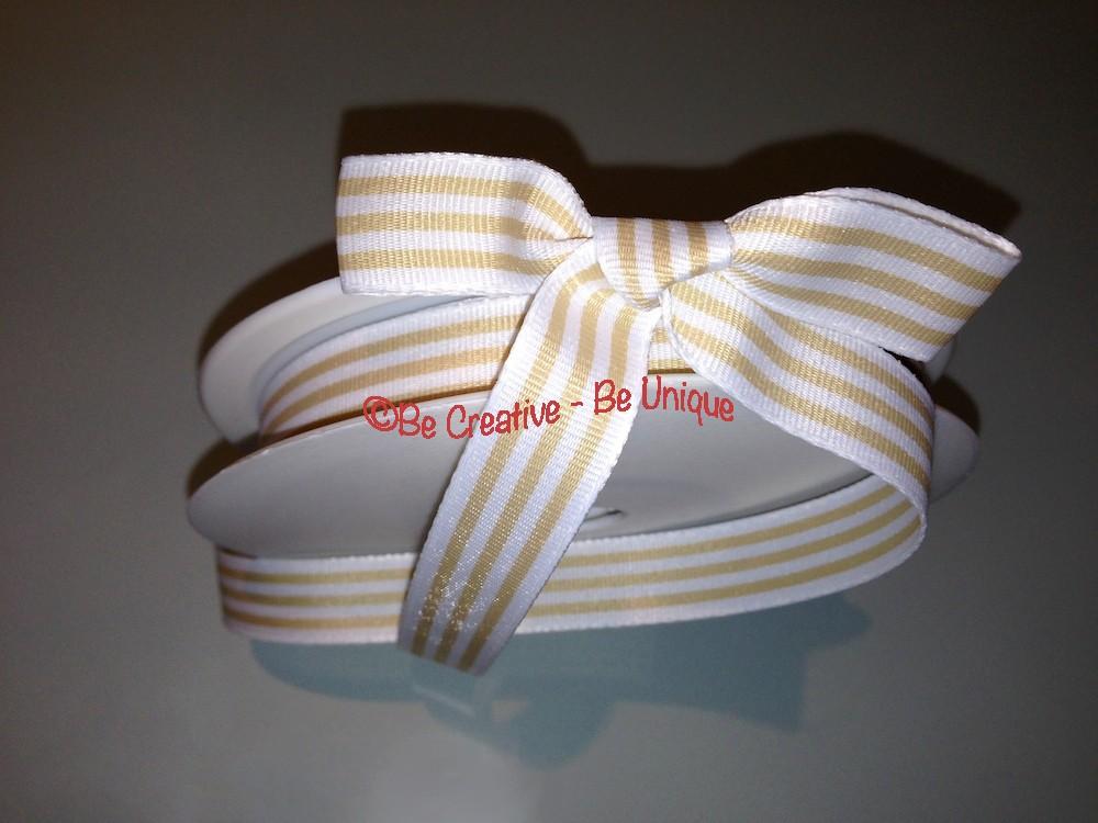 Woven Stripe Ribbon - Natural/White