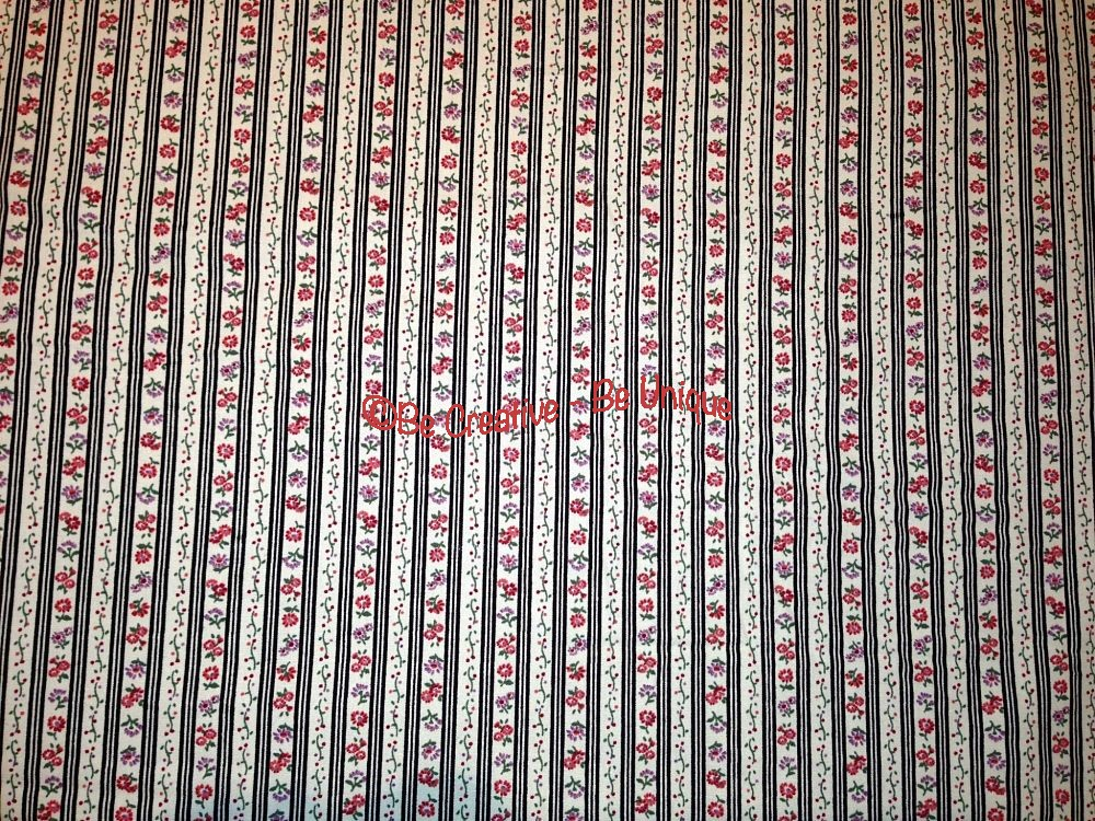 Cotton Poplin - Stripes & Flowers - Black