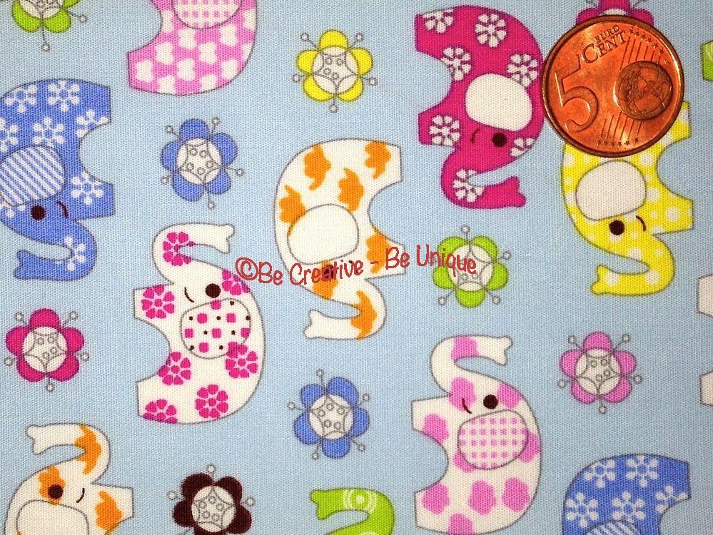 Cotton Poplin - Elephants - Blue
