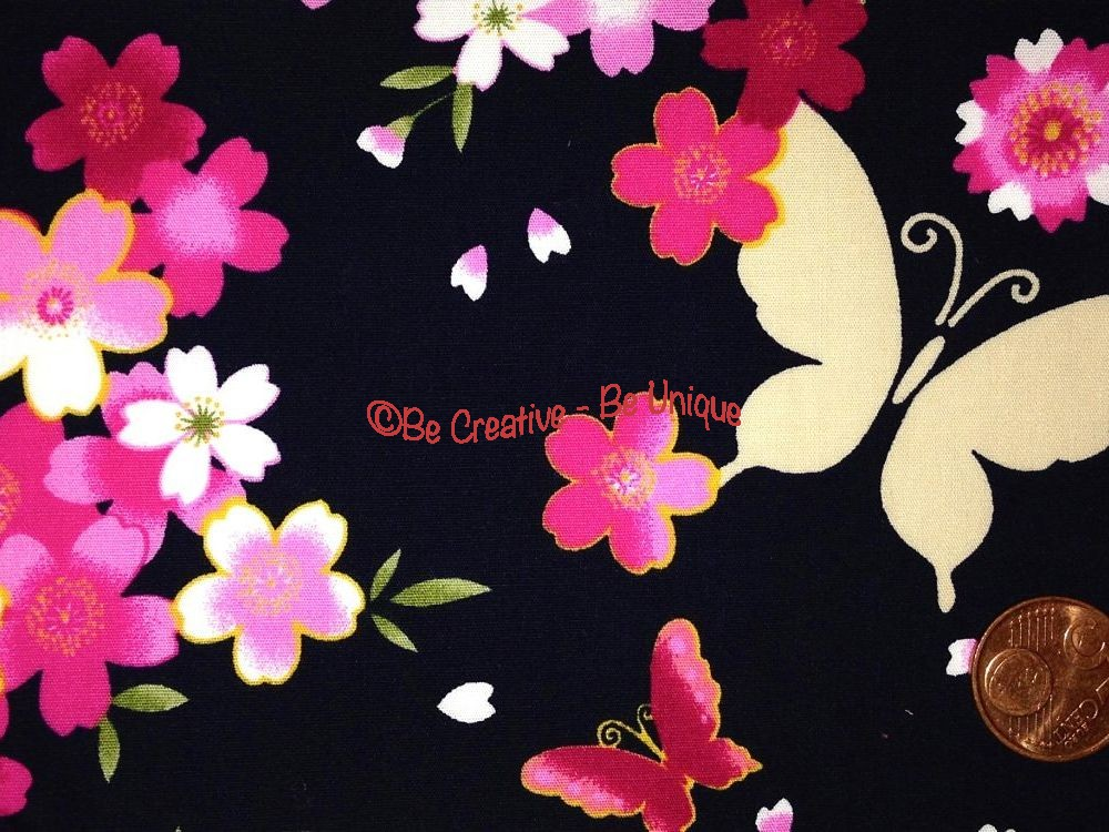 Cotton Poplin - Butterflies & Flowers - Navy