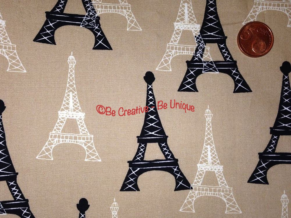 Cotton Poplin - Eiffel Tower - Tan