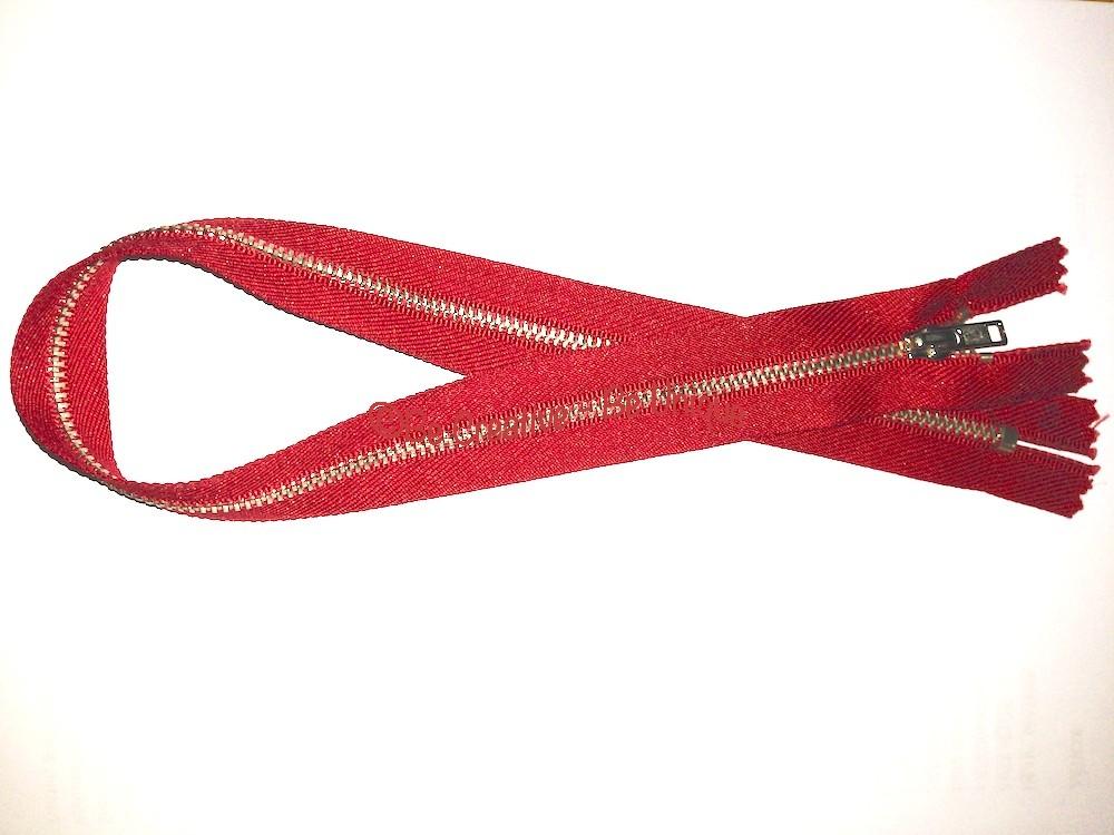 "Metal Zip Fastener - Red - 18"""