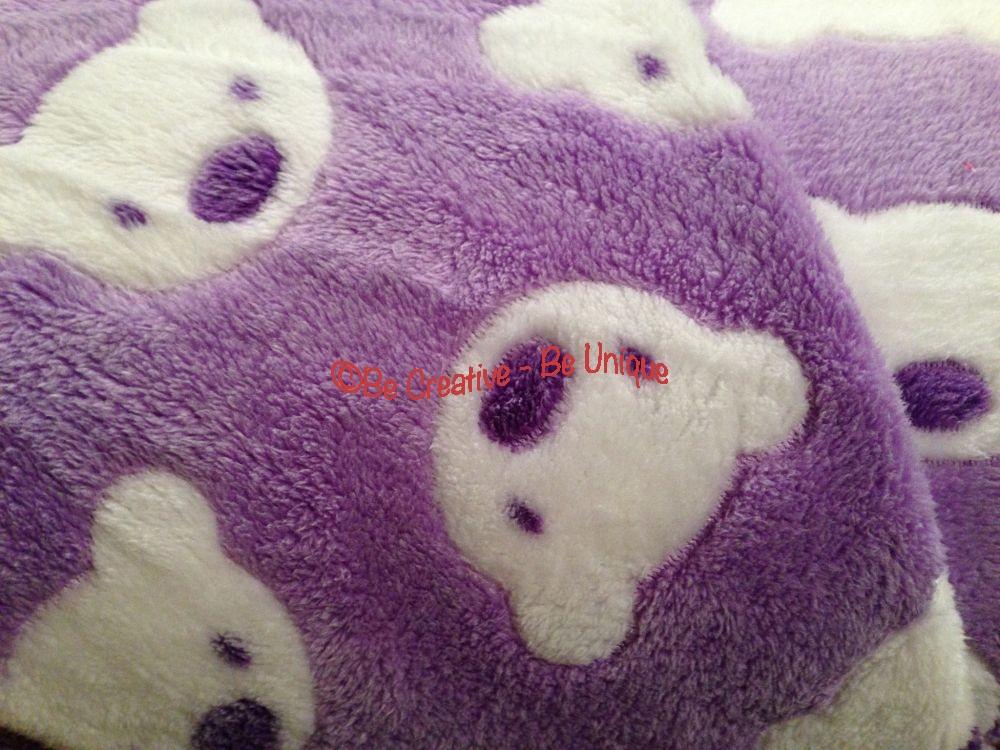 Minky Cuddle Fleece - Teddy Face - Lilac