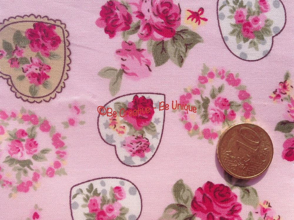 Cotton Poplin - Love Hearts & Flowers - Pink