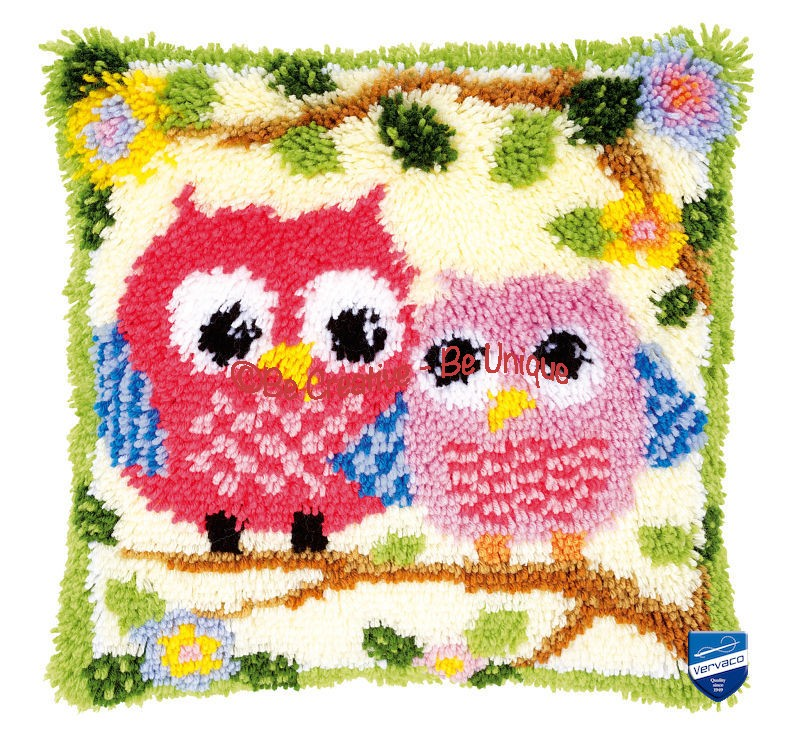 Vervaco - Latch Hook Cushion Kit - Owls on a branch
