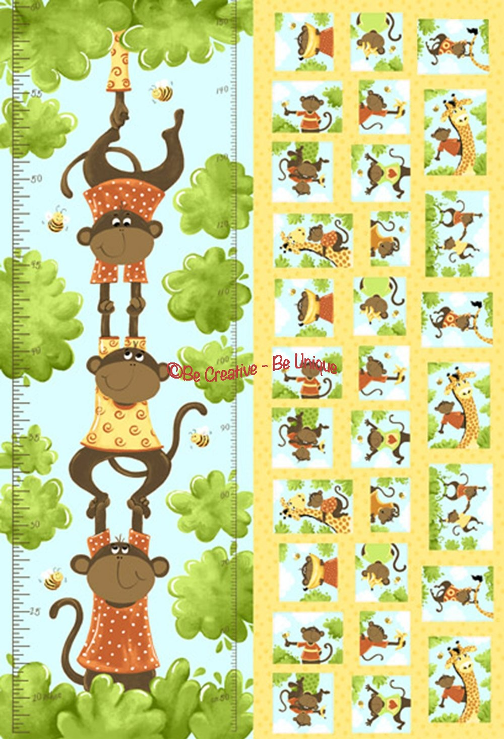 Cotton by Susybee - Oolie, the Monkey Growth Chart