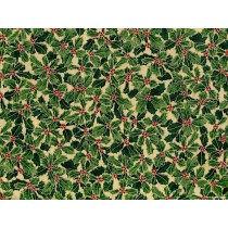 Fat Quarter - Cotton by Hoffman - Gold Metallic Holly