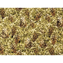 Fat Quarter - Cotton by Hoffman - Gold Metallic Pinecones