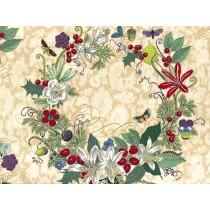 Fat Quarter - Cotton by Hoffman - Parchment Flower Wreath