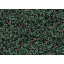 Fat Quarter - Cotton by Hoffman - Silver Metallic Holly