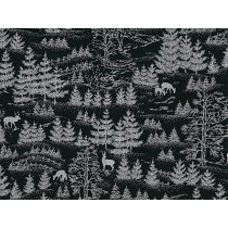 Cotton by Hoffman - Silver Metallic Forest Silhouette