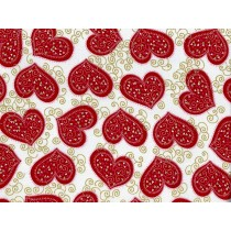 Cotton by Hoffman - Red Hearts