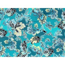 Fat Quarter - Cotton by Hoffman - Silver Metallic Leafy Print