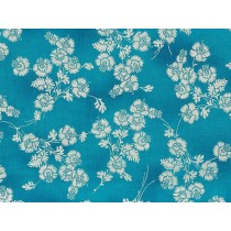 Cotton by Hoffman - Silver Metallic Flowers